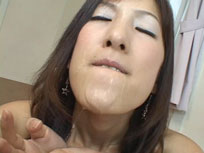 Mouth wide open and hungry as a wolf, this is Rei - The japanese bukake Queen